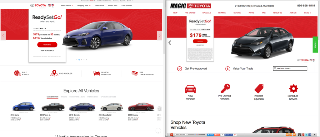 Toyota Site Redesigns